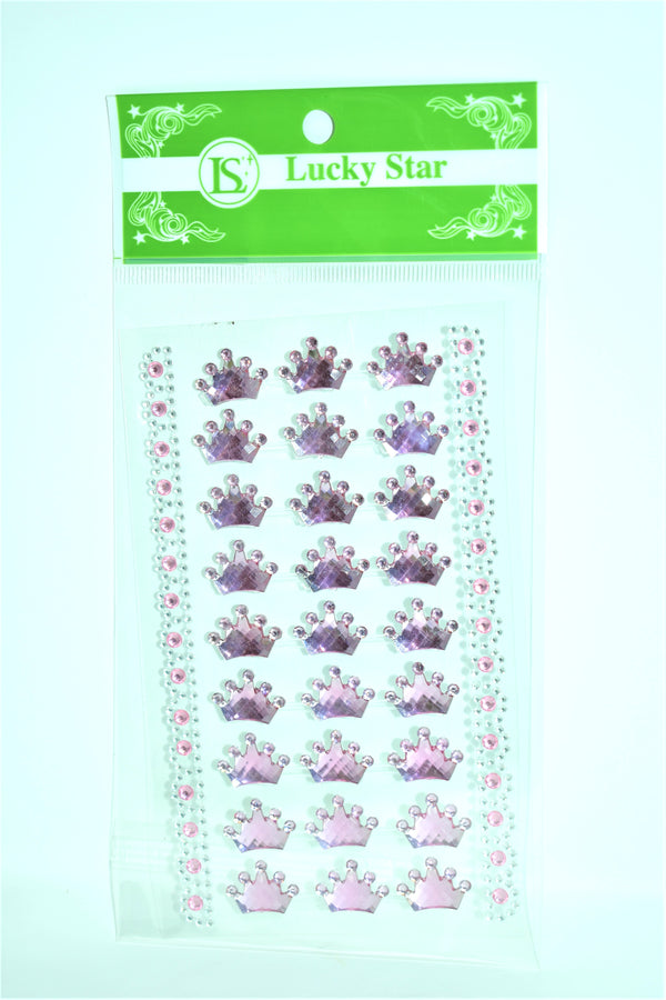 Royal Crown Design Acrylic Stickers, Pink Color, 27 ct + 2 Decorative Strips