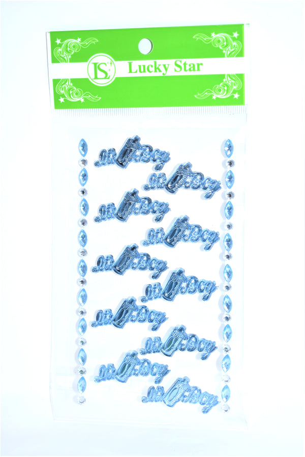 """It's A Boy"" Decorative Acrylic Stickers, Blue Color, 10 ct + 2 Decorative Strips"