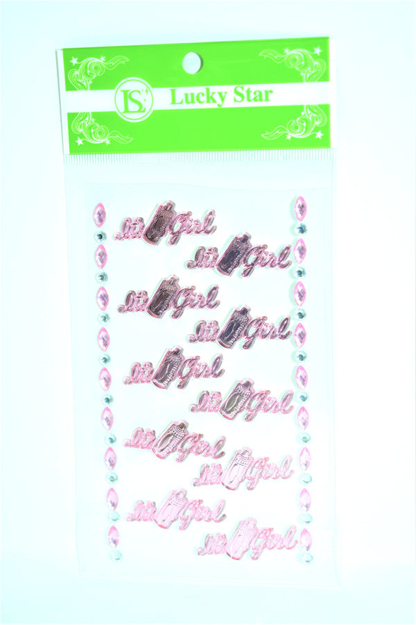 """It's A Girl"" Decorative Acrylic Stickers, Pink Color, 10 ct + 2 Decorative Strips"