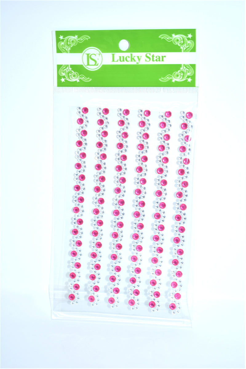 Swirl Rhinestone Stickers, Fuchsia Color, 6 ct.