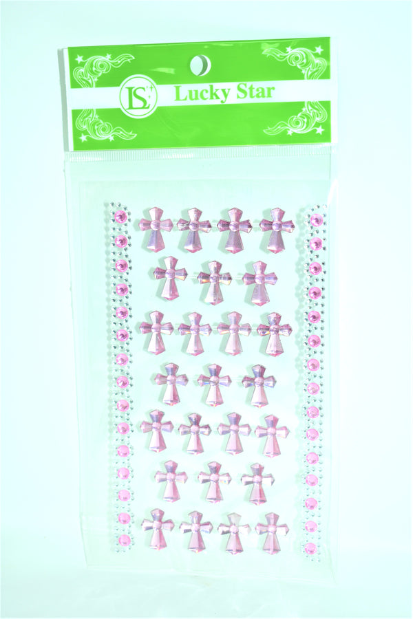 Religious Cross Design Acrylic Stickers, Pink Color, 25 ct + 2 Decorative Strips