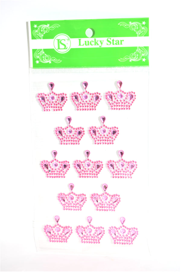 Crown Rhinestone Stickers, Pink Color, 13 ct.