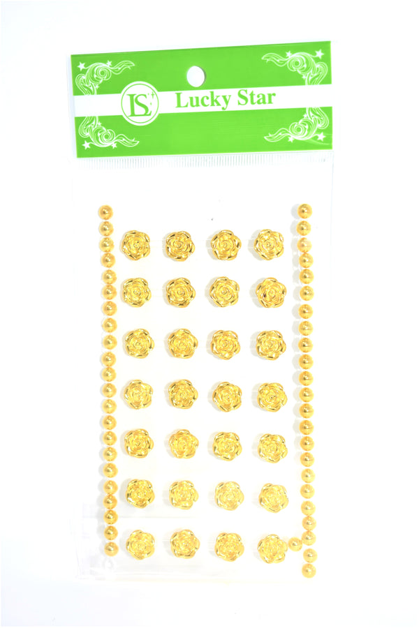 Medium Rhinestone Rose Stickers, Gold Color, 28 ct. + 2 Decorative Strips
