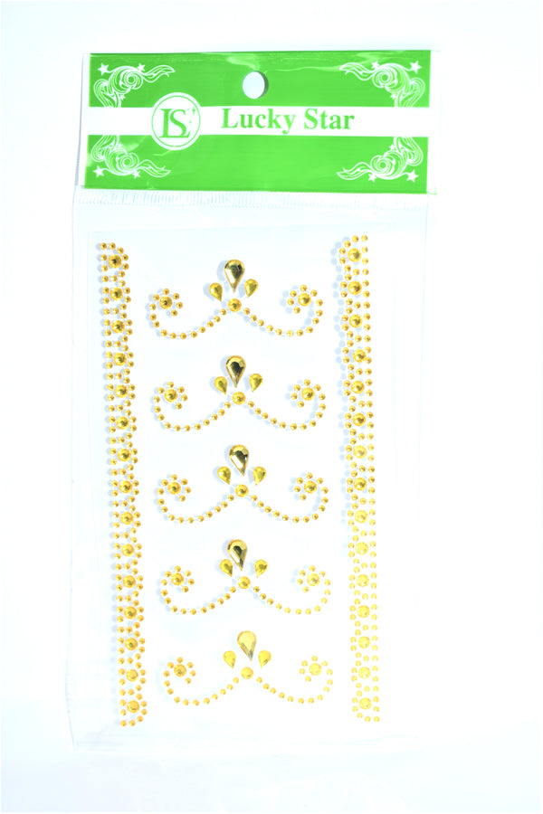 Rhinestone Flourishes Stickers, Gold Color, 5 ct. + 2 Decorative Strips
