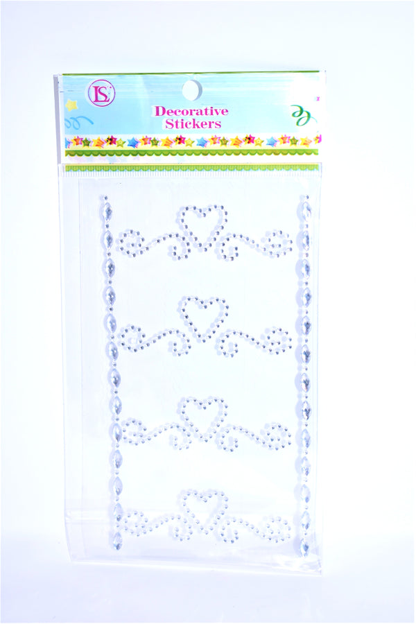 Flourishing Heart Rhinestone Stickers, Silver Color, 4 ct. + 2 Decorative Strips