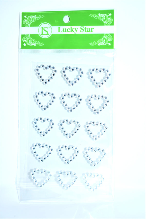 Heart Rhinestone Stickers, Silver Color, 15 ct.
