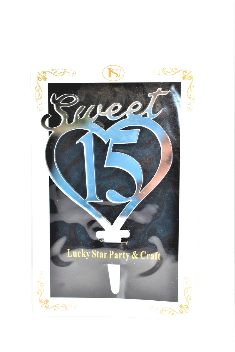Sweet 15 Silver Color Mirrored Acrylic Cake Topper