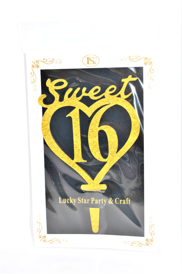 Sweet 16 Gold Color Mirrored Acrylic Cake Topper