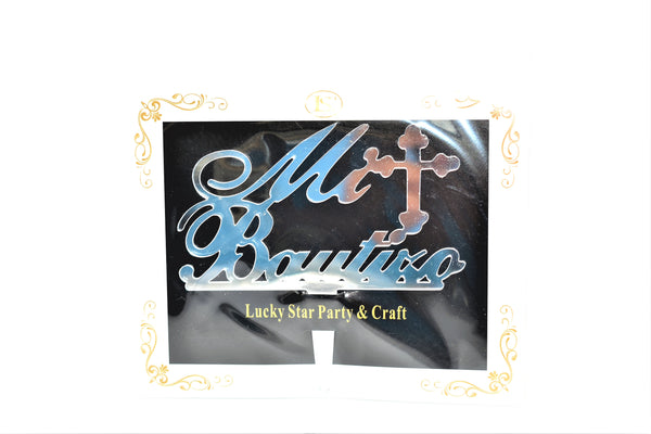 Mi Bautizo (My Baptism in Spanish) Silver Color Mirrored Acrylic Cake Topper