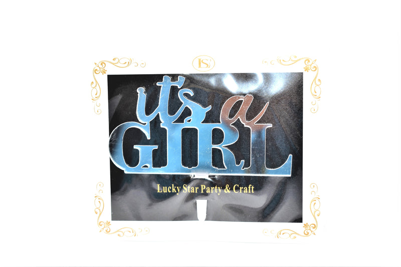 """It's A Girl"" Silver Color Mirrored Acrylic Cake Topper"