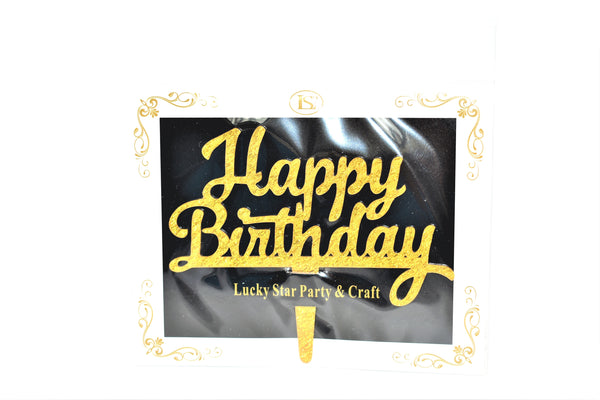 Happy Birthday Gold Color Mirrored Acrylic Cake Topper