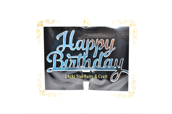 Happy Birthday Silver Color Mirrored Acrylic Cake Topper