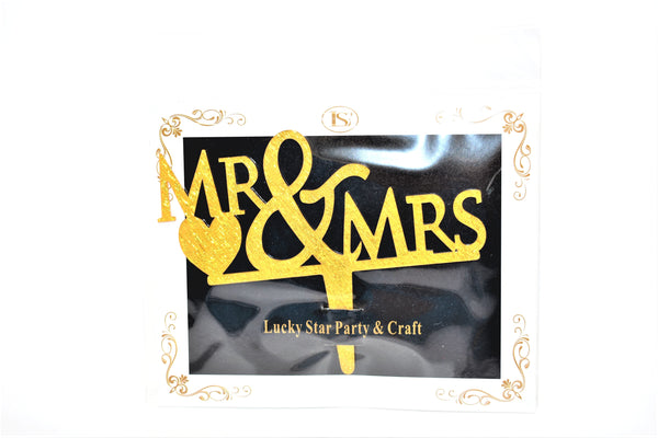 """Mr & Mrs"" Wedding Gold Color Mirrored Acrylic Cake Topper"