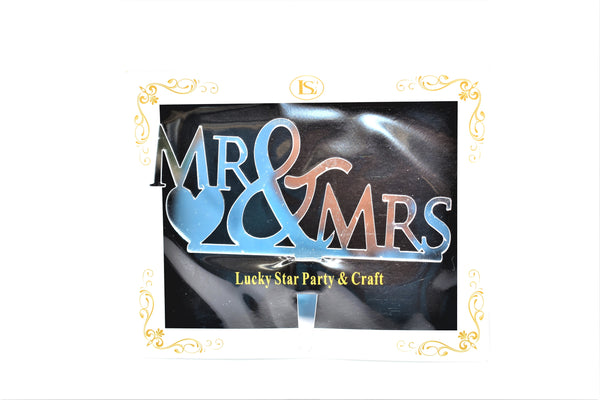 """Mr & Mrs"" Wedding Silver Color Mirrored Acrylic Cake Topper"