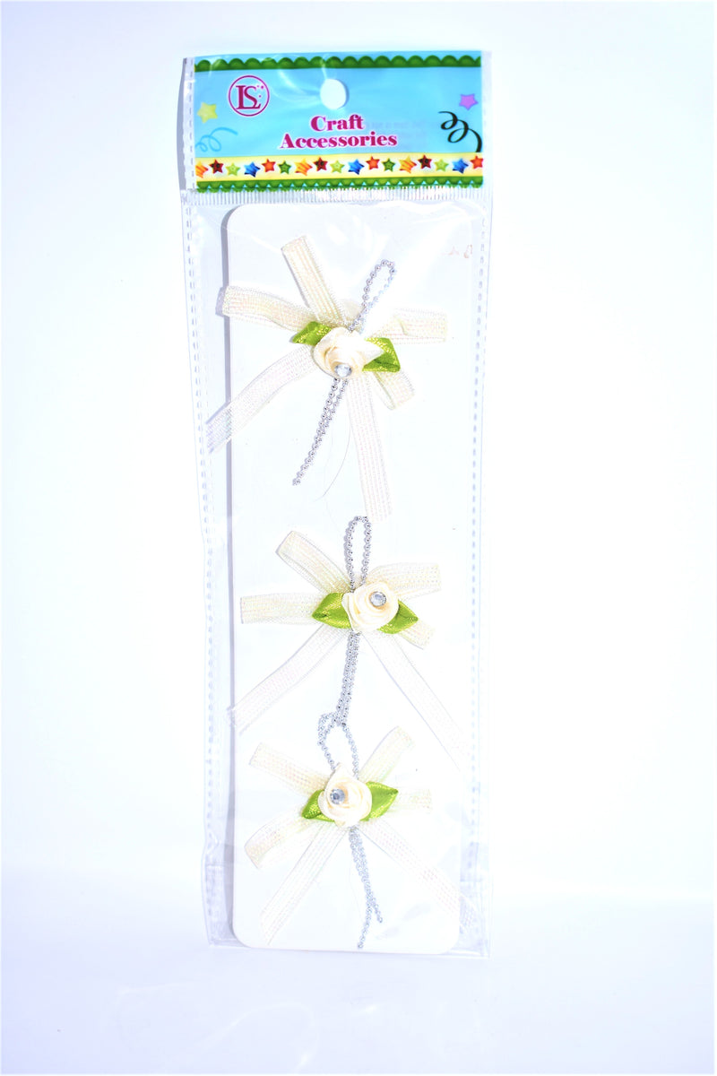 Organza Pre-Tied Ribbon With Rhinestone Rose, Ivory Color, 3 ct.