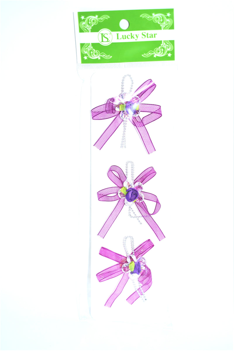 Pre-Tied Ribbon Bow With Acrylic Ribbon Rose, Purple Color, 3 ct.