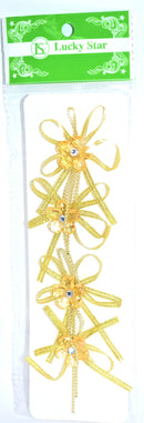Pre-Tied Ribbon With Acrylic Rhinestone Flower, Gold Color, 4 ct.