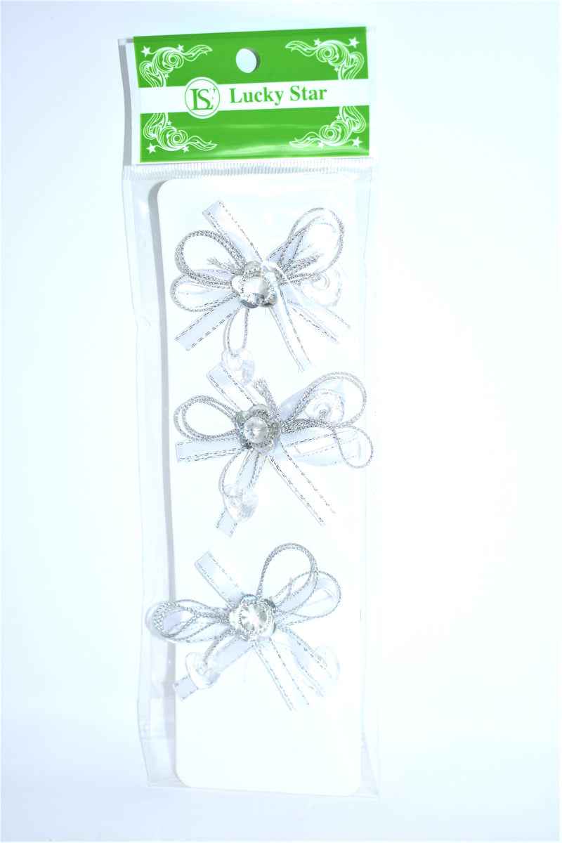 Pre-Tied Ribbon With Rhinestone Flower, Silver Color, 3 ct.
