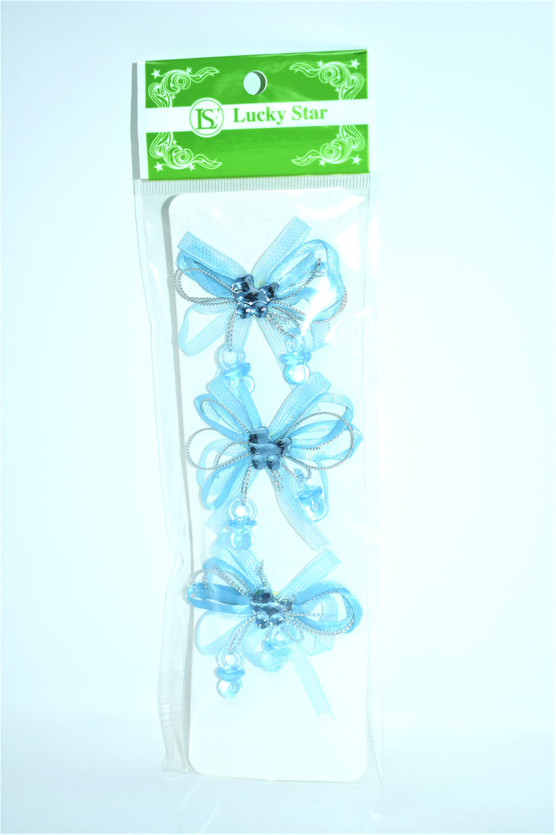 Organza Pre-Tied Ribbon With Acrylic Carriage, Blue Color, 3 ct.