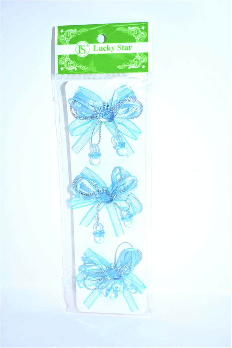 Organza Pre-Tied Ribbon With Acrylic Crown, Blue Color, 3 ct.