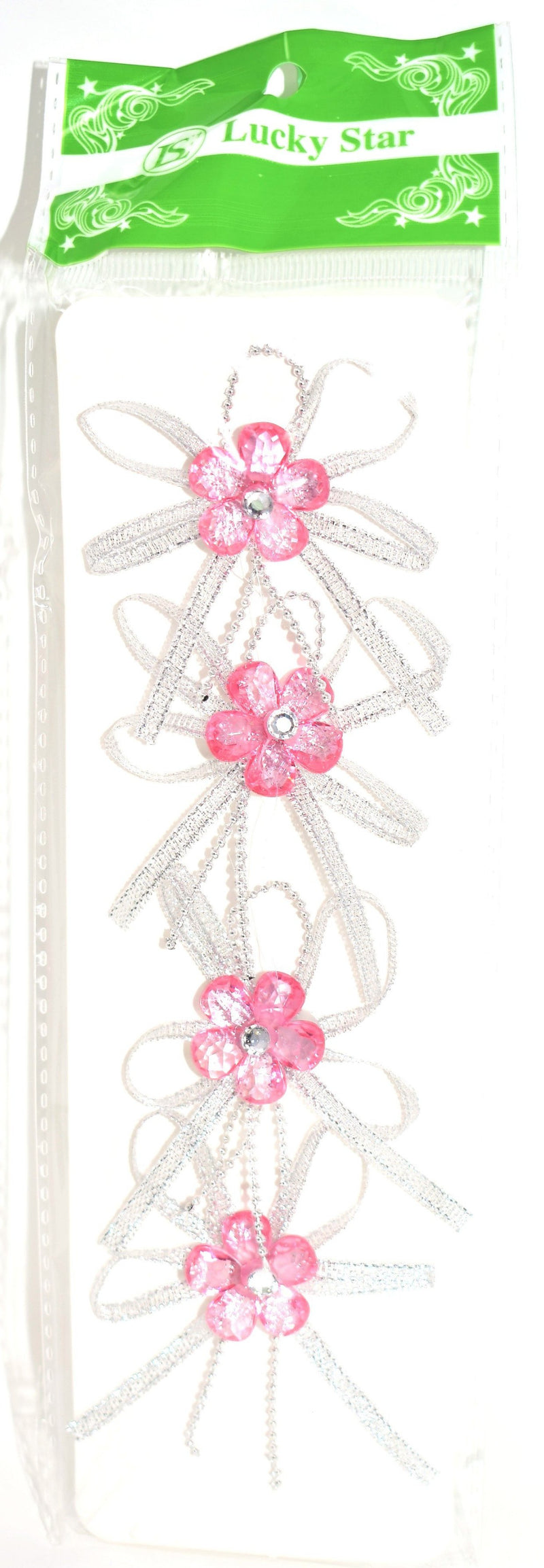 Pre-Tied Ribbon With Acrylic Rhinestone Flower, Pink Color, 4 ct.