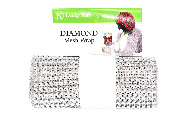 "Diamond Mesh Wrap Roll, Silver Color, 4.75"" x 1 Yard"
