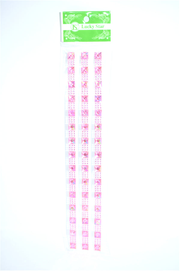 Square Iridescent Diamante With Rhinestone Stickers, Pink Color, 3 Strips