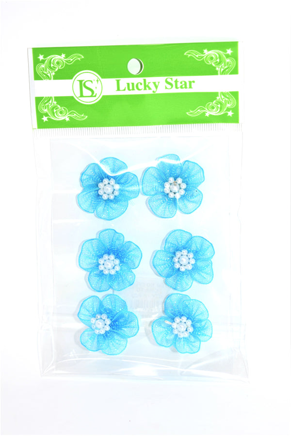 Shimmering Organza Flower With Pearl Appliques, Turquoise Color, 6 ct.