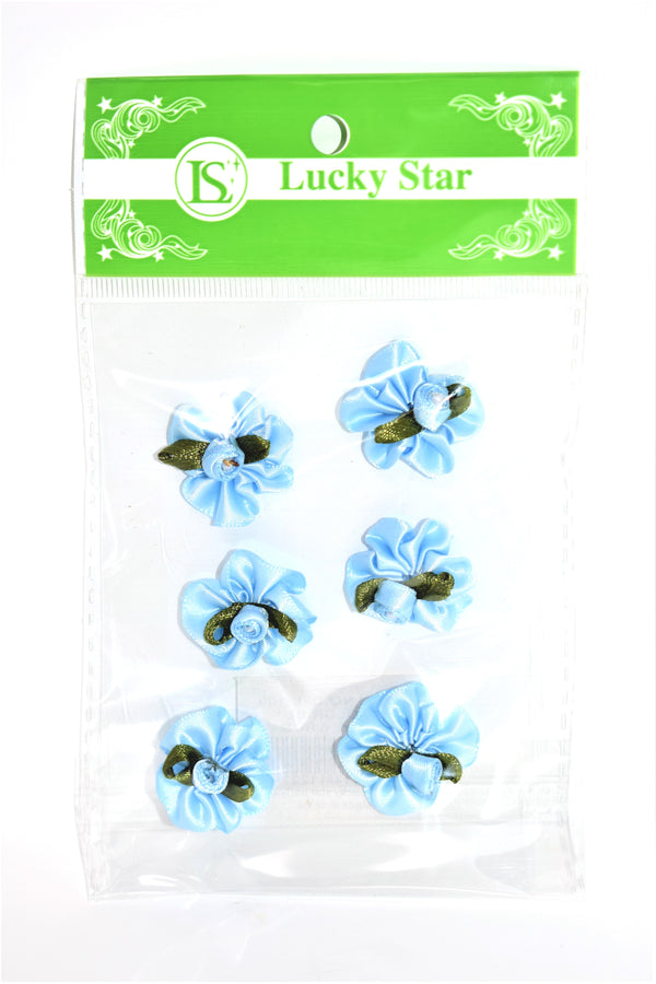 Satin Ribbon Flower With Pearl Design, Blue Color, 6 ct.