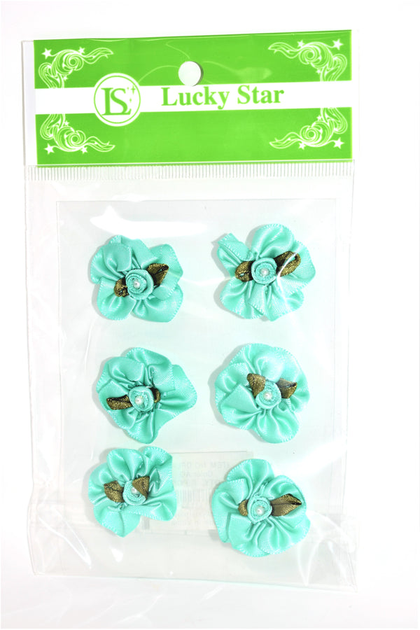 Satin Ribbon Flower With Pearl Design, Aqua Color, 6 ct.