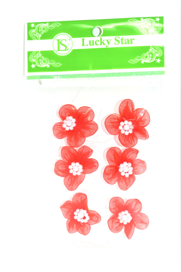 Organza Beaded Flower Appliques, Red Color, 6 ct.