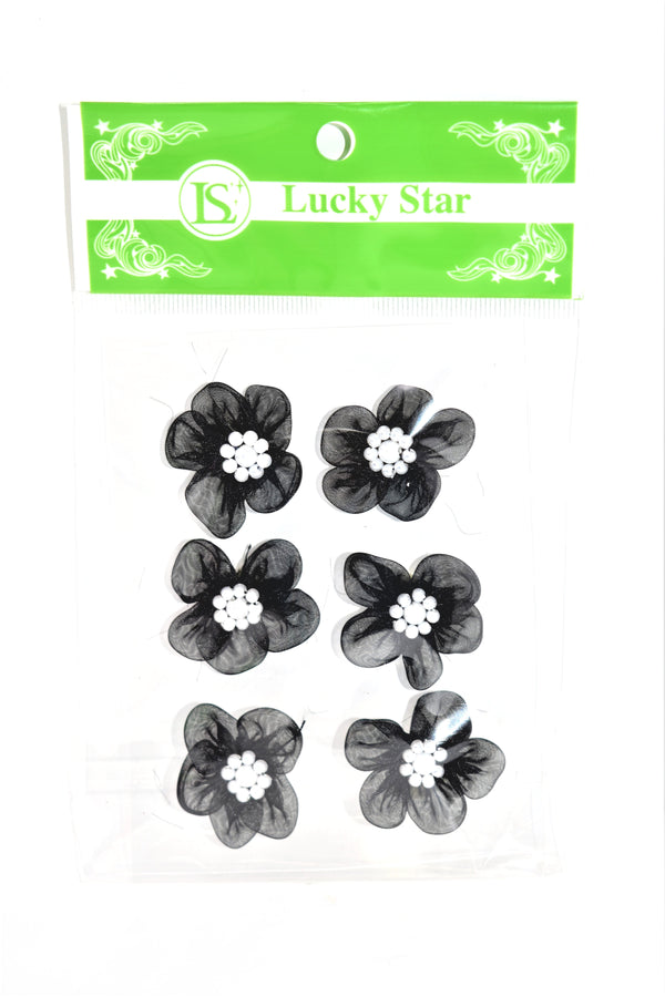 Organza Beaded Flower Appliques, Black Color, 6 ct.