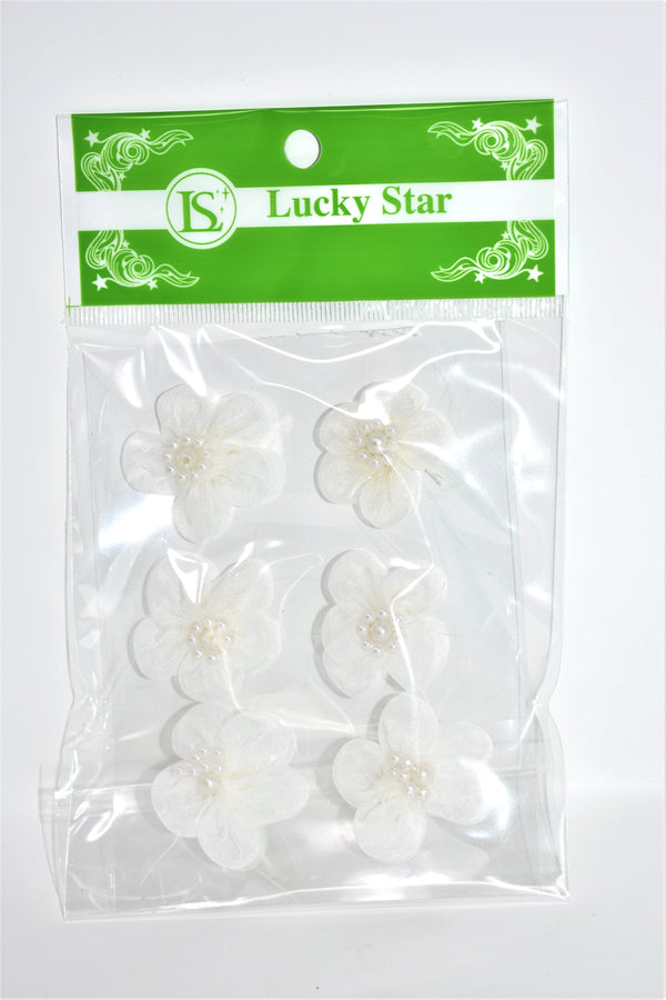 Organza Beaded Flower Appliques, Ivory Color, 6 ct.