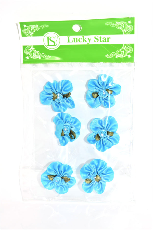 Satin Ribbon Flower With Pearl Design, Turquoise Color, 6 ct.