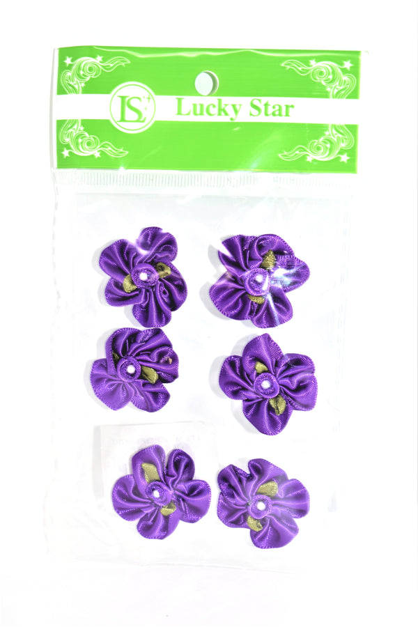 Satin Ribbon Flower With Pearl Design, Purple Color, 6 ct.