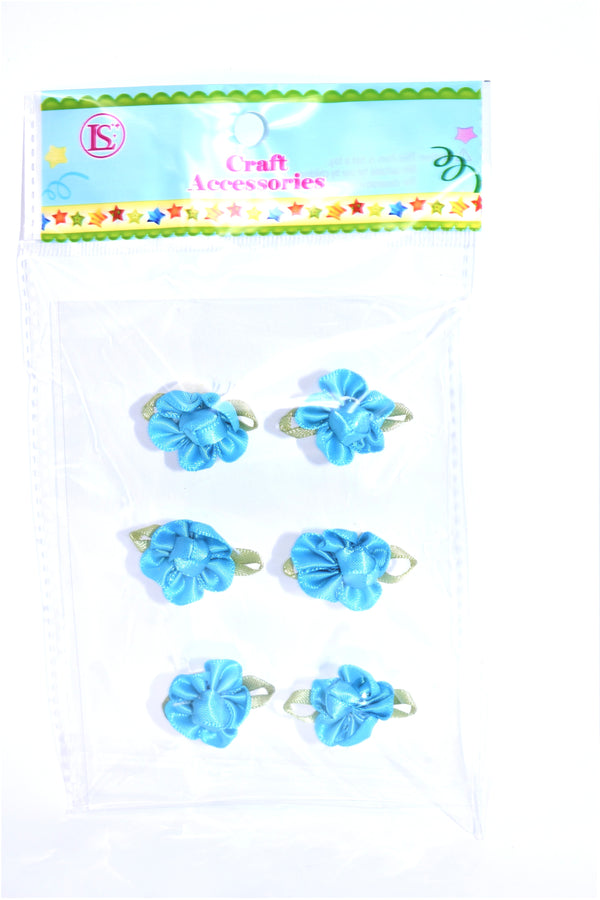 Satin Ribbon Flower, Turquoise Color, 6 ct.