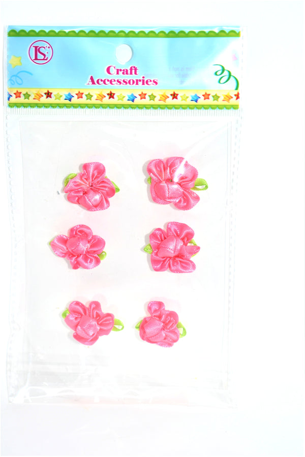 Satin Ribbon Flower, Hot Pink Color, 6 ct.
