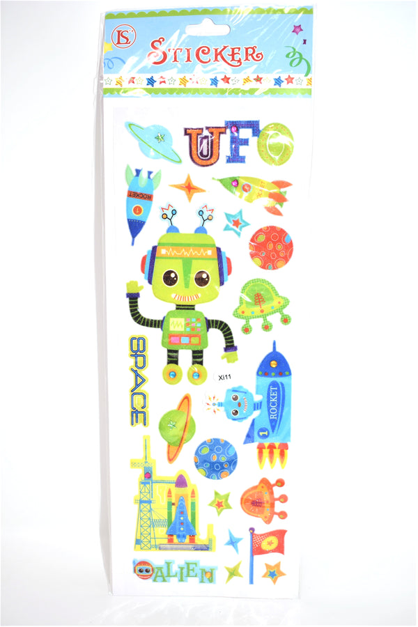 Space Robot Stickers, Assorted Designs