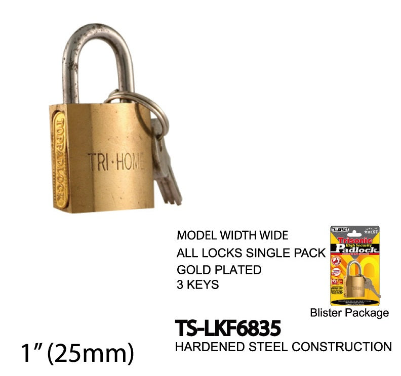 High Security Padlock With Keys, Gold-Plated, 25 mm