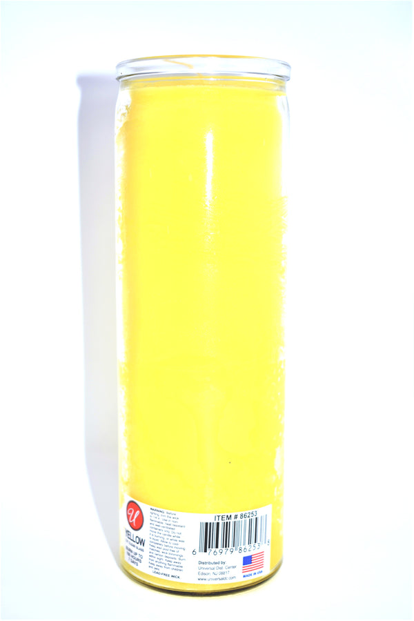 "7.5"" Yellow Glass Jar Candle"