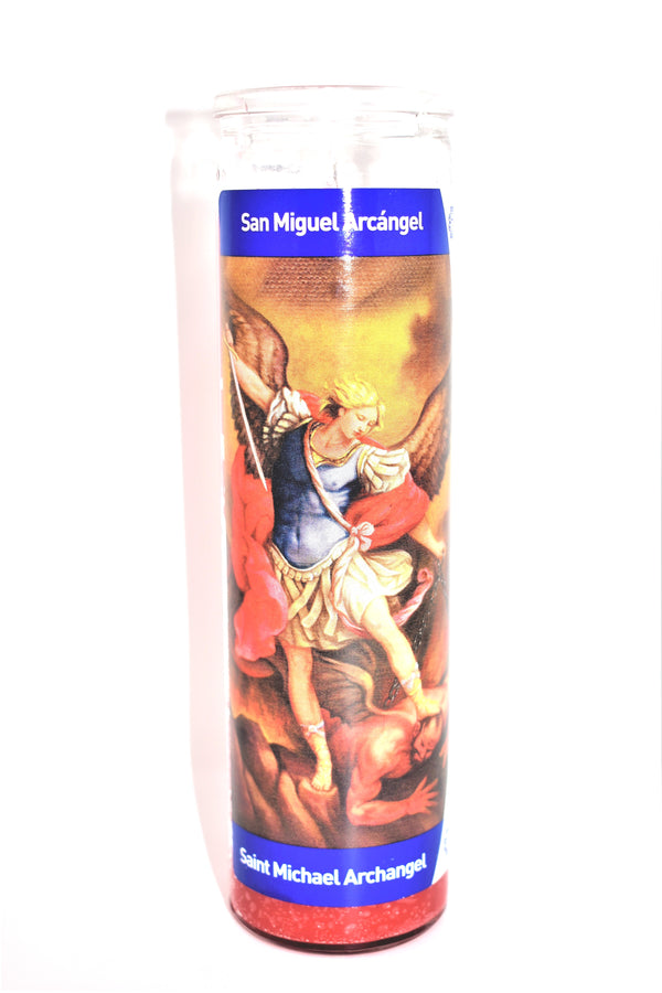 "8"" Saint Michael Archangel Glass Jar Candle"