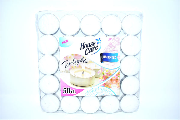 House Care Unscented Tealights, 50 ct.