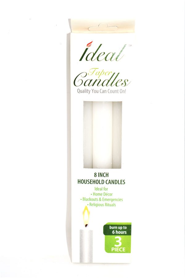 "Ideal 8"" White Taper Candles, 3 ct."