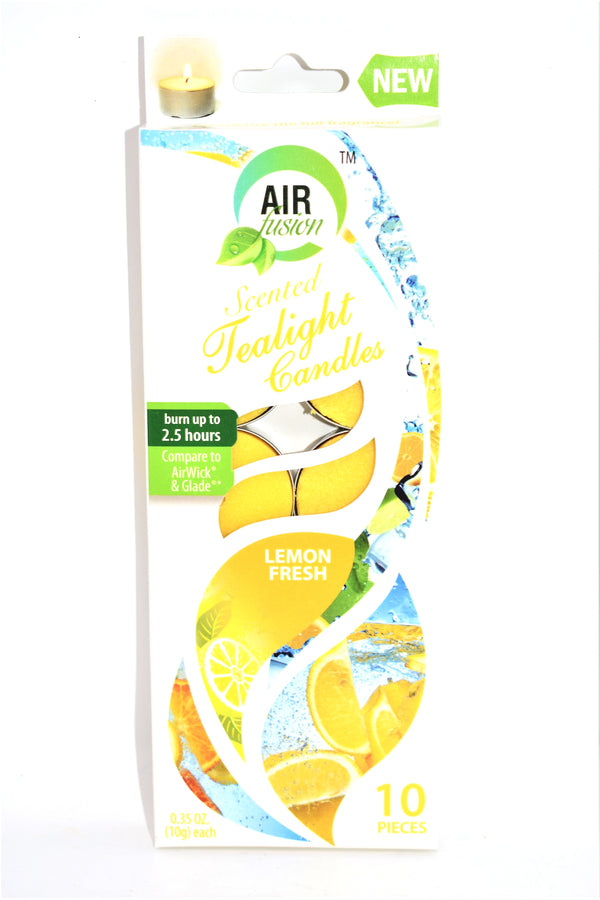 Air Fusion Lemon Fresh Scented Tealight Candles, 10 ct.