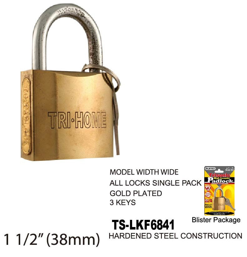 High Security Padlock With Keys, Gold-Plated, 40 mm