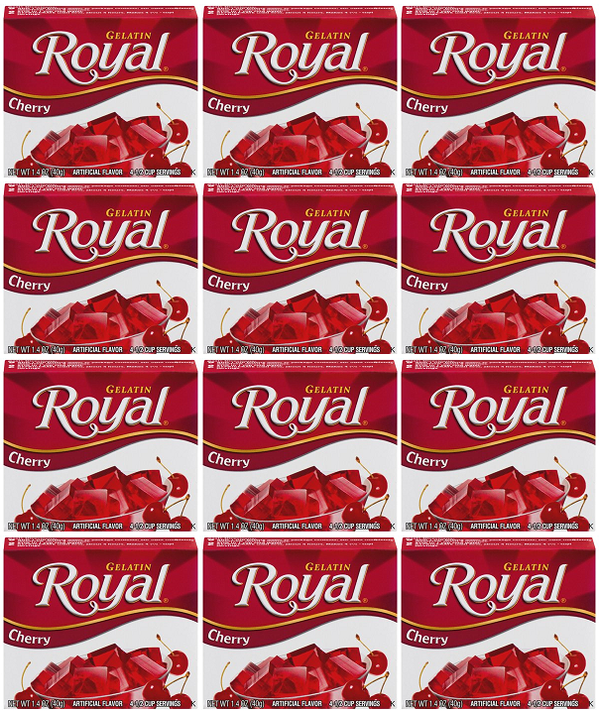 Royal Cherry Gelatin, 1.41 oz (Pack of 12)