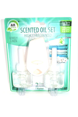 Air Fusion Lovely Linen Scented Oil Set, 1 Warmer + 2 Glass Refills