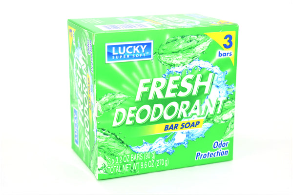 Lucky Super Soft Fresh Deodorant Odor Protection Bar Soap, 3 ct.