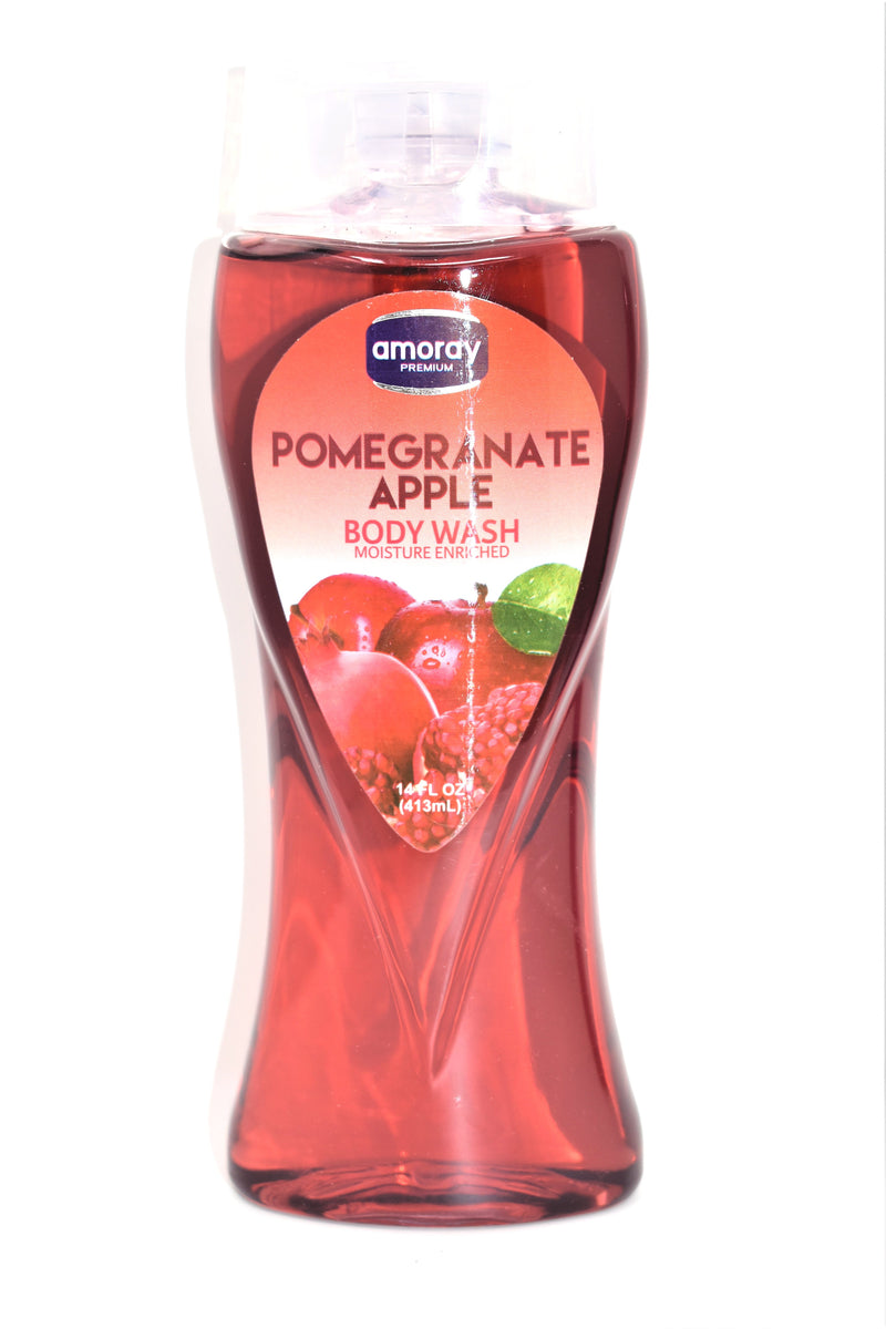 Amoray Premium Pomegranate Apple Body Wash, 14 fl oz.