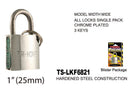 High Security Padlock With Keys, Chrome-Plated, 25 mm
